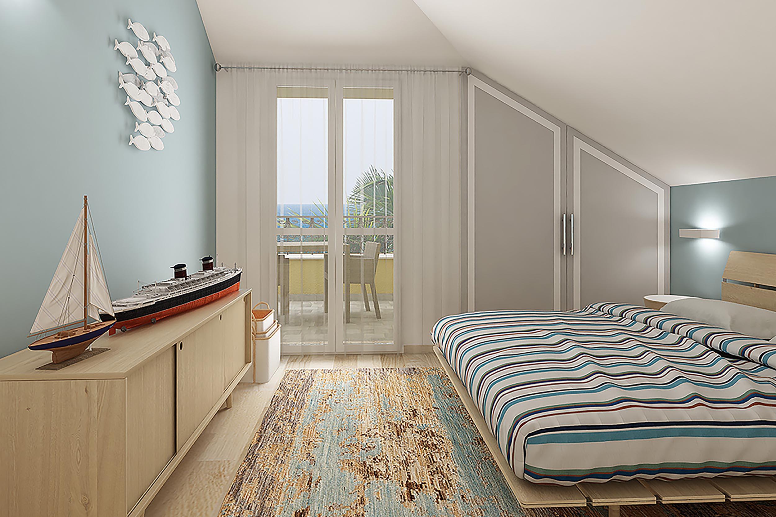 Daimm vendita nervi via val cismon viale delle palme villa render camera da letto mansarda - Camera da letto in mansarda ...
